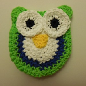 Set of 2 Handmade Crochet Blue, Green, White Owl Kitchen Dish / Pot Scrubbie , Nylon Scrubbie ,  os132