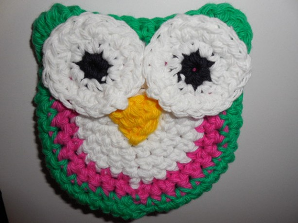Set of 2 Owl Scrubbie , Dish / Pot Scrubby , Crochet Cleaning Scrubber , Green, Pink and White Owl Scrubber , Handmade Tri - Colored Owl    os160