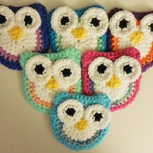 Set of 2 Crochet Dish Scrubbie, Nylon Scrubber, Handmade Crochet Yellow / Green Twisted , Yellow, White Owl Kitchen Dish / Pot Scrubbie   os164