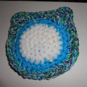 Set of 2 Nylon Scrubbie, Handmade Crochet Variegated, Blue, White Owl Kitchen Dish / Pot Scrubbie , Dish Scrubber , os162