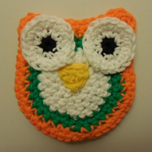 Set of 2 Owl Scrubbie , Dish / Pot Scrubby , Crochet Cleaning Scrubber , White, Orange and Green Owl Scrubber , Handmade Tri - Colored Owl    os163