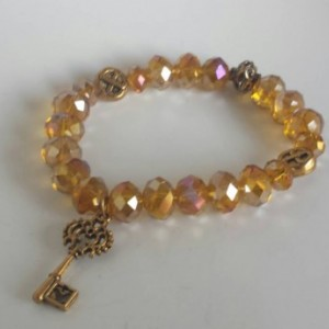 Gold beaded bracelet - key charm - Gold beads - Gold bracelet - Gift - Pink Beaded bracelet -  Beaded Bracelet - Stretch Bracelet  - Charm