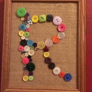 Button Monogram Letter Handmade 8x10 Buttons & Burlap