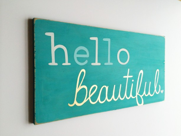 Hello Beautiful Painted Wood Sign Distressed Wood Wall Art