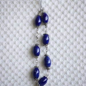 Cobalt Blue Beaded Chain Linked Beacelet with painted Ceramic Beads