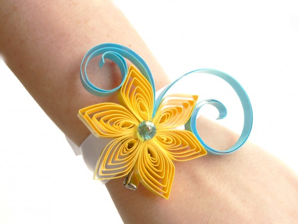 Yellow and Aqua Wedding Corsage