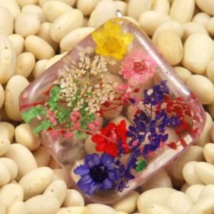 Multi Floral resin pendant necklace