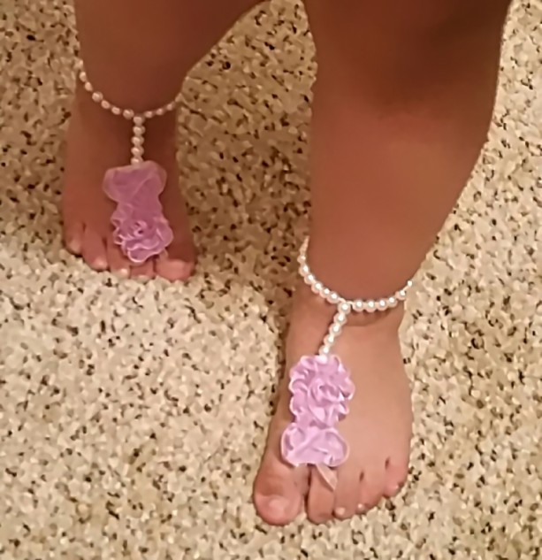 Flower Barefoot Sandals Wedding Beach Shoes Bridal Jewelry Accessory Beaded Anklet Bridesmaid Gift Slippers Brides