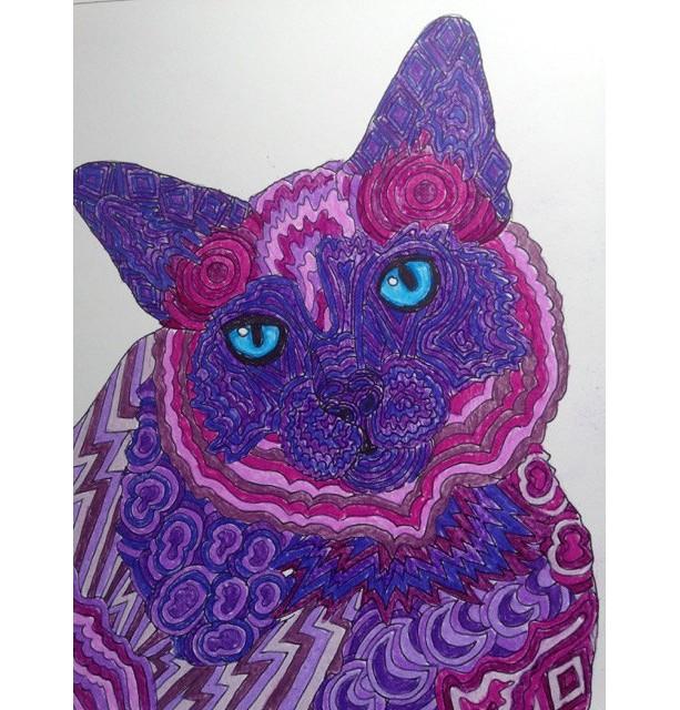 Custom Pet Portrait Fantasy Zentangle style. 8x10.Dog painting, cat painting, horse painting, any pet. Fantasy art,ooak pet, unique gift