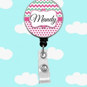 Personalized Chevron Dot Badge Reel