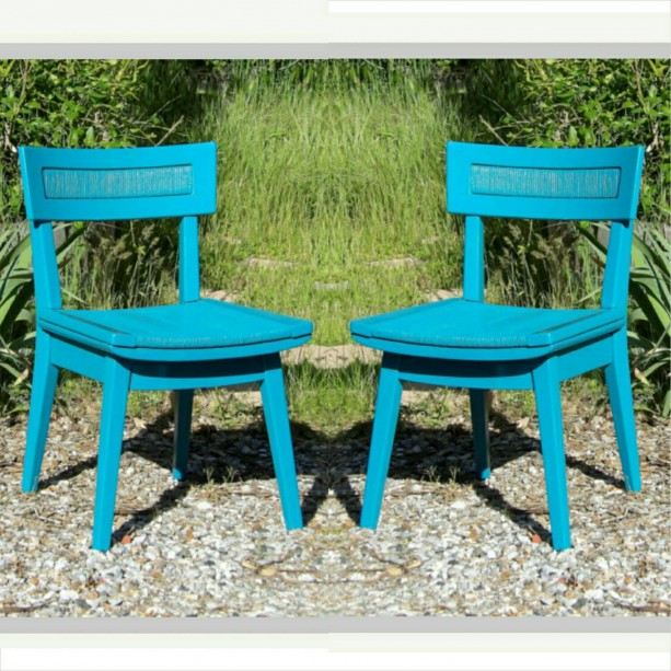 2 Chairs Vintage Pair Turquoise Teal Mid Century Modern Furniture Hand  Painted Wood Cord Woven Dining