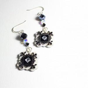Indie dangle flower earrings / Artisan Boho style bridal / bridesmaid jewelry / shrink plastic art jewelry / quirky jewelry / jewellery