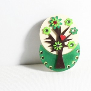 Unique tree with  flowers plastic brooch, nature-inspired brooch, nature-inspired jewelry, nature lover jewelry