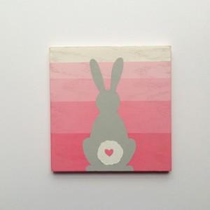 Woodland Bunny Nursery Art - Woodland Decor - Wood Wall Art - Pink Girl's Wall Art - Kid's Rabbit Art -  Distressed Painted Sign - Ombre Art