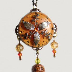 Large orange vintaj brass leaf crystal pendant, vintaj brass and epoxy resin jewelry