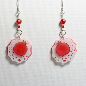 Fruit Earrings, Red Pomegranate Jewelry, Food Earrings With Red Fruit