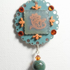 Round Indie teal and orange crystal pendant, plastic flower necklace, aquamarine flower pendant