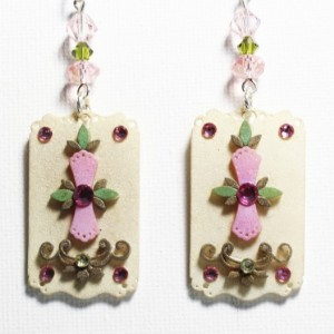 Unique bridesmaid earrings, pink flower earrings, unique crystal jewelry