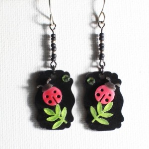 Cute ladybug on a green leaf dangle earrings / Cute shrink plastic beetle, insect, leaf art jewelry