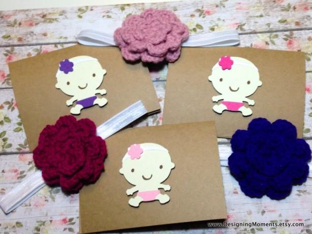 Newborn Baby Gift Shower Headbands And Cards Handmade Kraft Thank