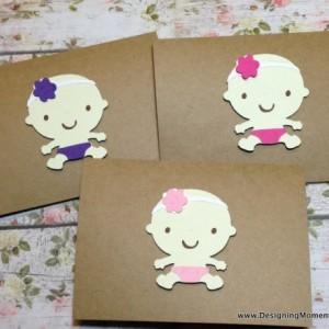 Newborn Baby Girl Gift Baby Shower Gift Baby Headbands and Cards Handmade Headbands and Kraft Thank You Cards Unique Baby Shower Gift Girl