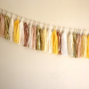 Mad Men Tassel Garland // gold yellow tan cream // spring // baby shower // event decor // wedding decor // home decor