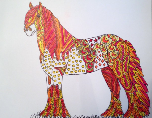 Original Gypsy Vanner horse zentangle doodle art. 8x10. Horse painting, horse drawing, fantasy horse, draft horse, doodle horse, OOAK horse