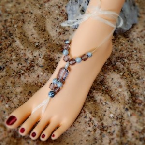 Wedding Barefoot Sandals Beach womens Bridal shoes flip flops Wedge Sandal Bead Anklet BridesMaid Accessories Shoes Foot Jewelry Thongs