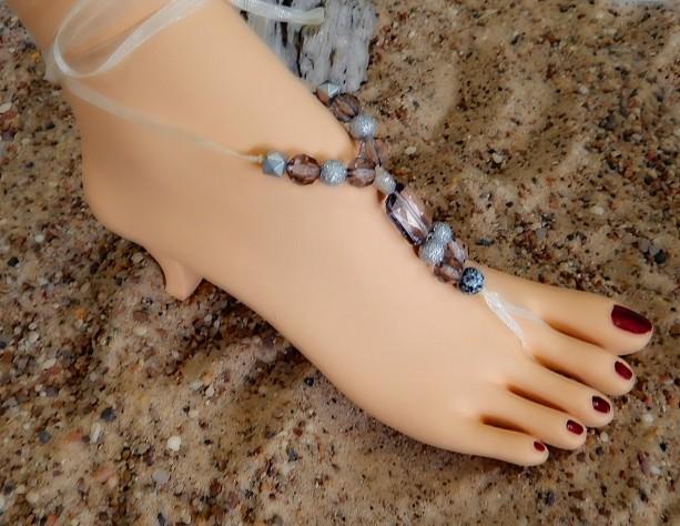 c653714e1fdafa ... Wedding Barefoot Sandals Beach womens Bridal shoes flip flops Wedge  Sandal Bead Anklet BridesMaid Accessories Shoes ...
