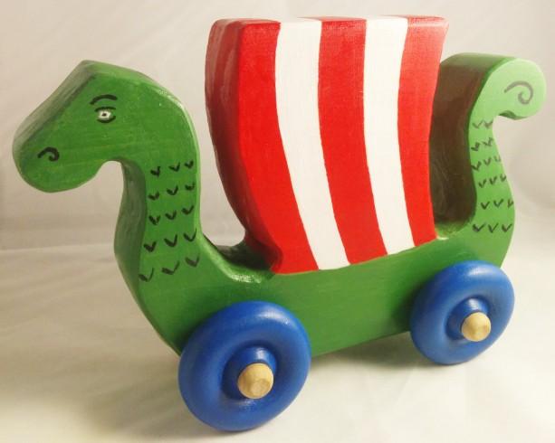 Wooden Baby Toy Dragon Ship Handmade Viking Ship Push Toy Perfect For Any Baby Viking