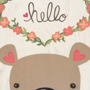 Woodland Nursery Art-Rustic Wood Wall Art-Woodland Animal Art-Cute Bear Art-Baby Girl Nursery Decor-Bear Nursery Decor-Floral Wall Art