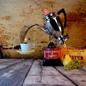 Lighting - Upcycled Lighting - Vintage Percolator Light - Vintage Coffee Tin
