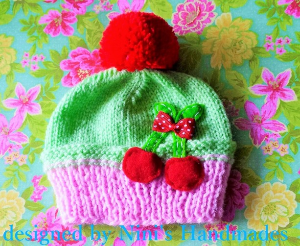 Knit Light pink and Pale green cupcake inspired Cherry Kids Hat, Made in the USA, kids fashion, kids accessories, kids clothing, girls hat