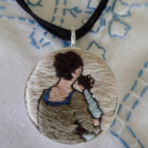 Mother and Child Folk Art Hand Embroidered Necklace