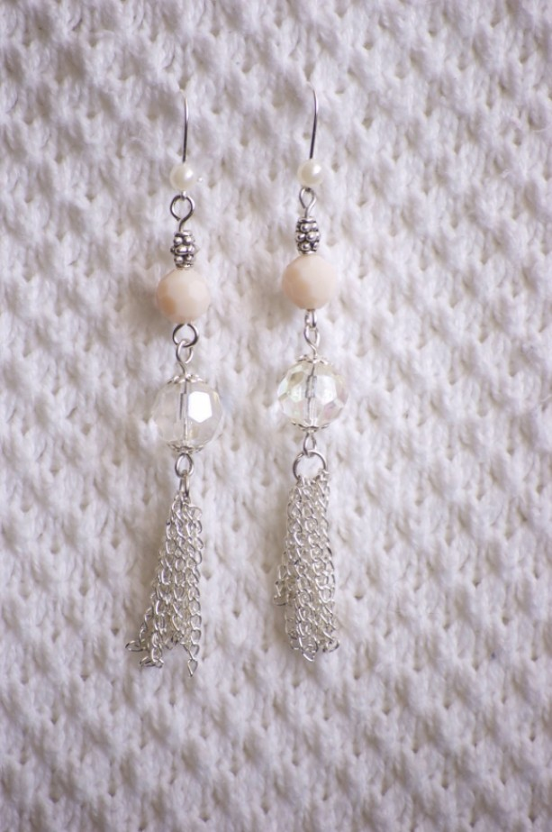 Tassel Earrings with light pink & clear irridescent bead and faux pearl for wedding