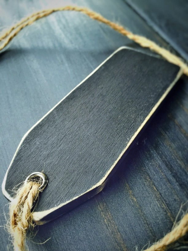 Wood Chalkboard Tags, Distressed - Double Sided