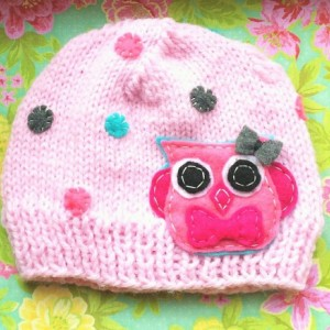 Knit Girls Beanie in Light Pink with Pink Owl and tiny felt dots,  Made in the USA, kids fashion, kids accessories, kids gift, kids beanies