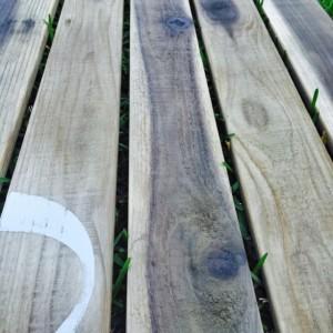 Wood Doormat - Double Door - Monogram, Custom Distressed: 2-TONE DARK GREY shown