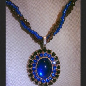 Royal Blue Majesty Beaded Necklace