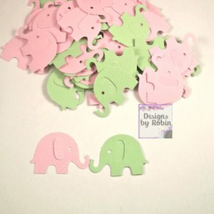 200  mint green and baby pink baby elephants, confetti baby shower , card making, party table scatter, scrap booking, crafting