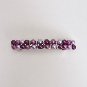 Purple Beaded Hair Barrette, Violet Pearl Beads Hair Clasp Clip, Bridesmaid Hair Clip, Silver French Barette Accessory Jewelry