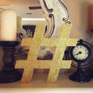 Glittered hashtag