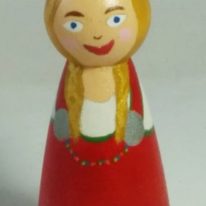 Viking Girl Toy Figurine Painted Blonde Wooden Peg Doll. Scandinavian European Woman Traditional Red Dress by Norse Kid Crafts