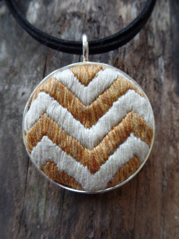 Gold and Cream Hand Embroidered Chevron Necklace