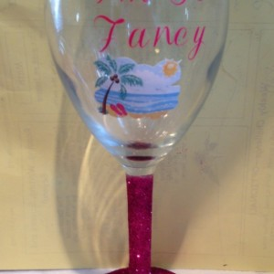 Personalized monogram glittered stem wine glass- Monogram, Glitter, Wine, Glass, Custom, Names, Personalized