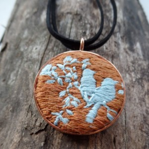 Lovebirds Hand Embroidered Necklace