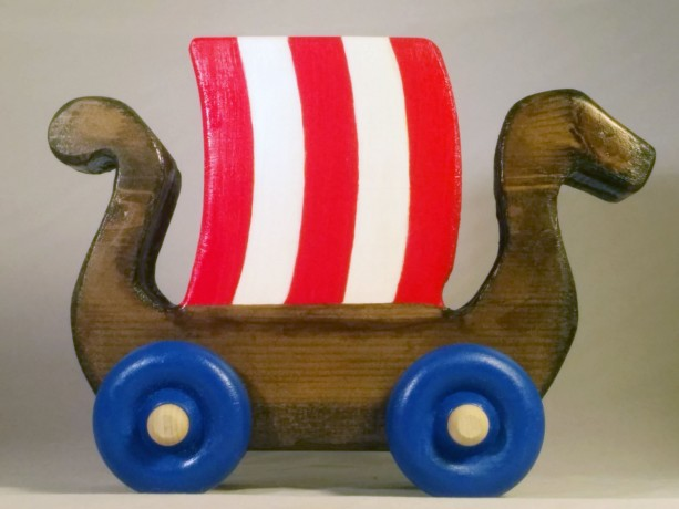 "Push Toy Viking Ship 8"" Long Handmade Wooden Toy Boat For Baby Boys Walnut Stain, Red & White Sail With Blue Wheels"
