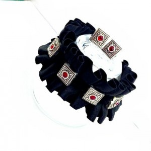 Black Satin Bracelet, Victorian Cuff, Goth Cuff,  Renaissance Cuff,  Satin and Velvet Cuff, Bracelet And Earring Set, Nickel Free, Velvet