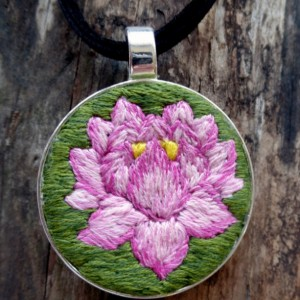 Lotus Flower Hand Embroidered Necklace