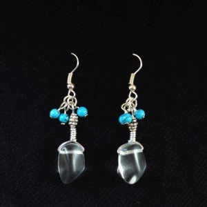 Wire Wrapped Clear Sea Glass with Turquoise Beads